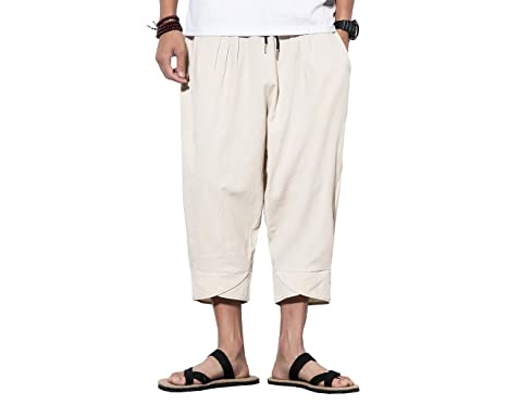 6426d7a014 INVACHI Mens Casual Elastic Waist Linen Capri Wide Leg Baggy Harem Pants  Trousers (X-