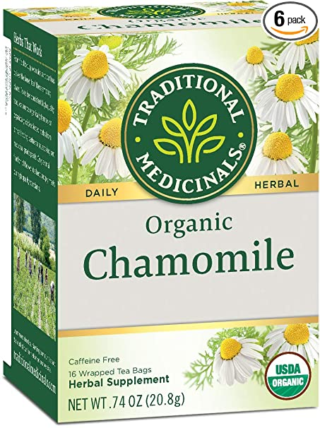 Traditional Medicinals Organic Chamomile Herbal Tea, 16 Tea Bags (Pack of 6)