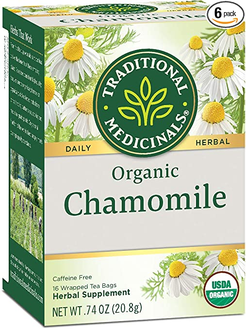 Traditional Medicinals Organic Chamomile Herbal Leaf Tea, 16 Tea Bags (Pack of 6)