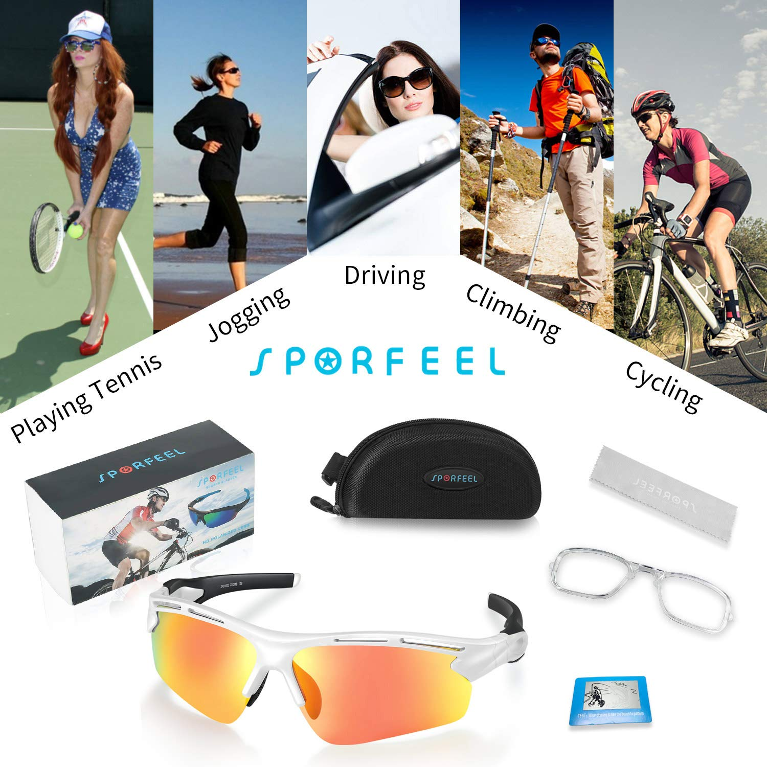 SPORFEEL Polarized Sunglasses Sports Glasses UV400 Cycling Eyewear Goggle TR90 Flexible Frame Mirrored Sunglasses Replaceable Lens for Men Women Teens Biking Cycling Fishing Boating Running