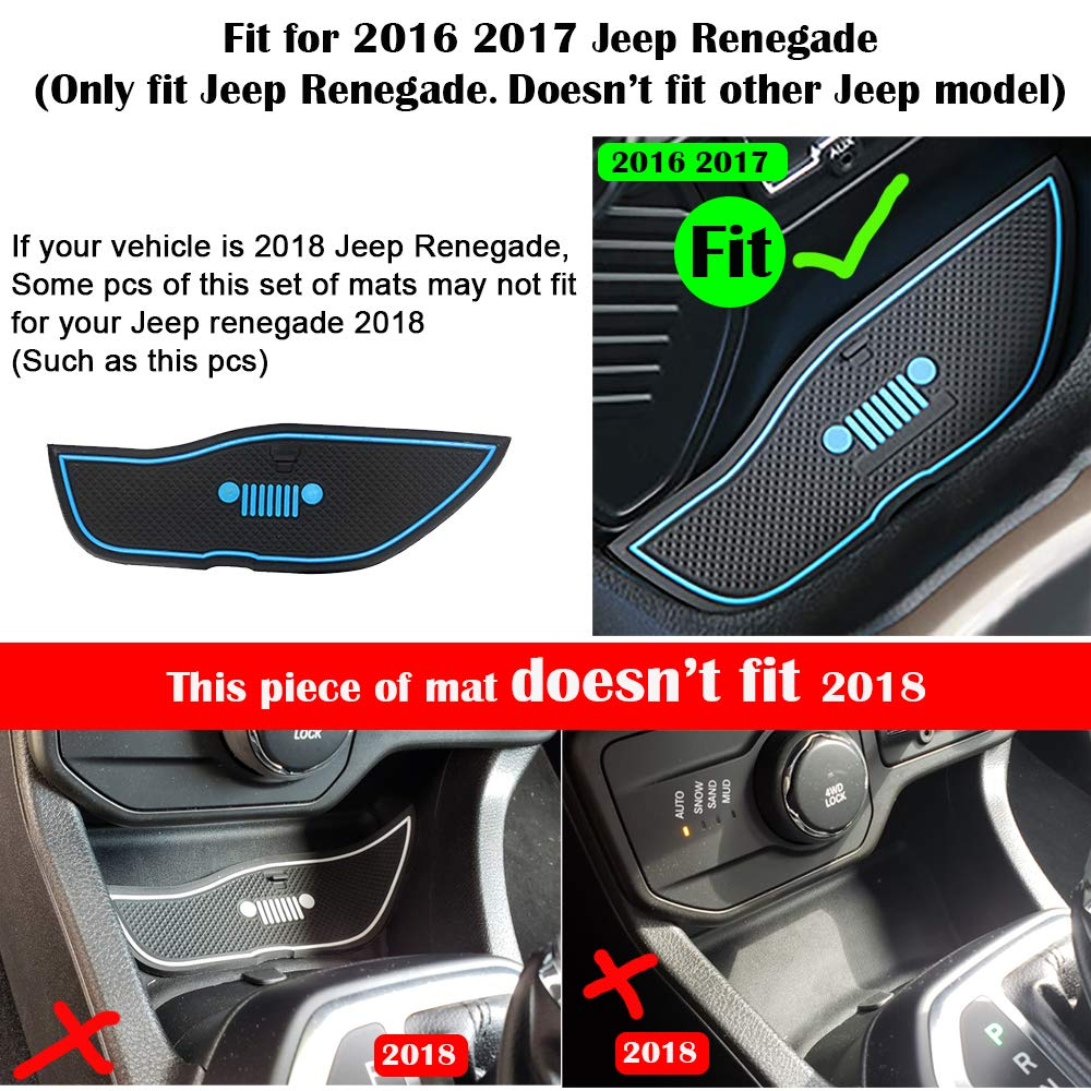 White Anti-dust Non-Slip Interior Door,Cup,Arm Box,Storage Mat for Jeep Renegade 2016 2017 Pack of 16