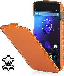 StilGut, UltraSlim, pochette exclusive de cuir véritable pour la Nexus 4 de Google/LG E960, en orange