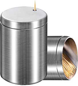 Toothpick Holder, Stainless Steel Toothpick Holder Dispenser, Toothpick Storage Box for Table, Hotel,Restaurant, Kitchen and Party