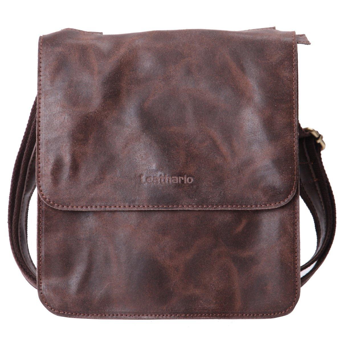 Leathario Men's Retro Leather Cross Body Messenger Bag 14