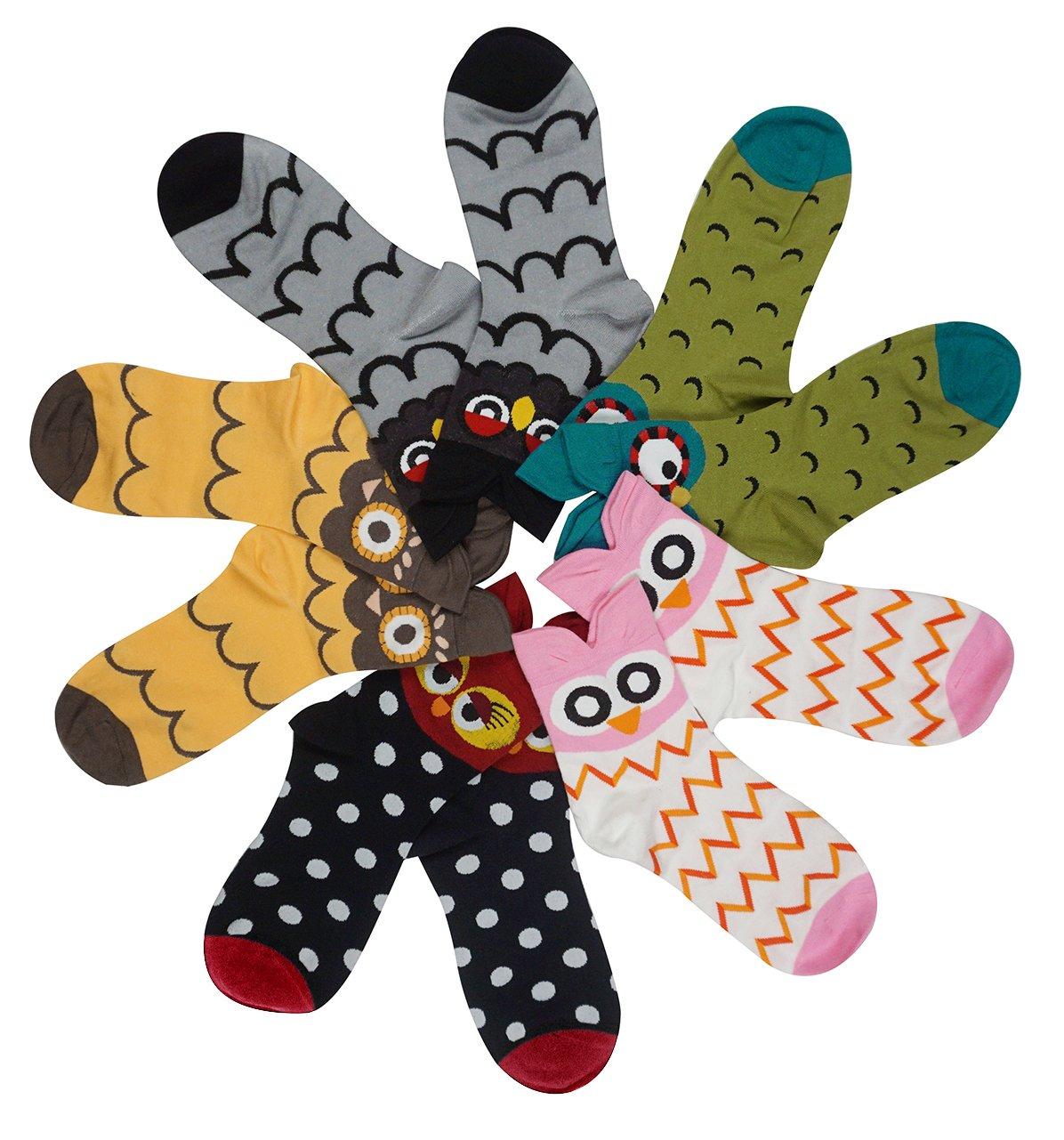 Women's Lady's Cute Owl Design Cotton Socks,5 Pairs Multi Color One Size by Bienvenu (Image #2)