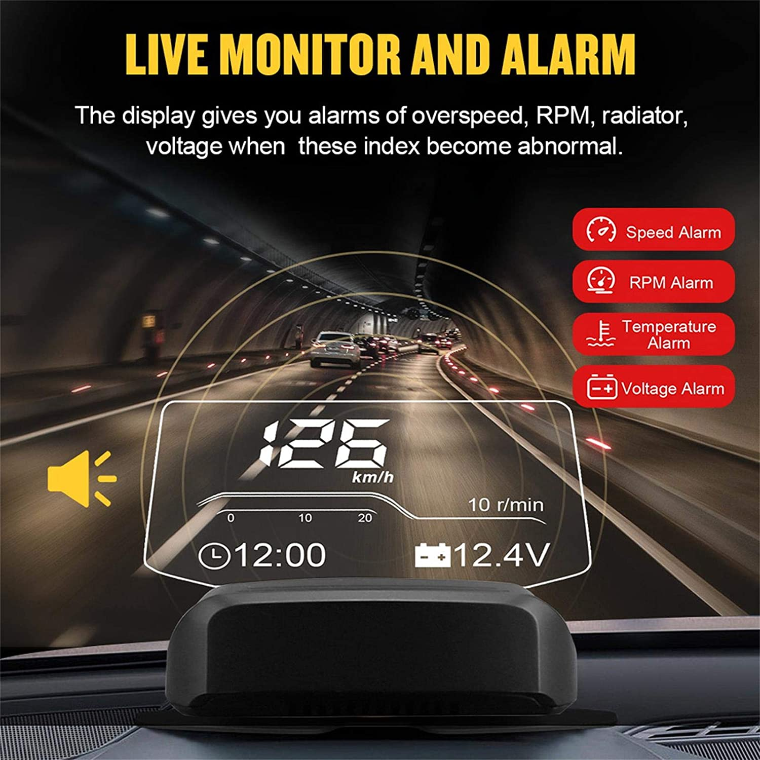 HUD OBD2 Speedometer Mileage Diagnostic Tool Auto Obd2 HUD Display Alarm Overspeed Temperature with GPS Navigator for All Cars Trucks