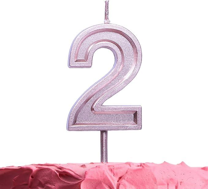 Amazon.com: Get Fresh - Vela de cumpleaños número 2, color ...