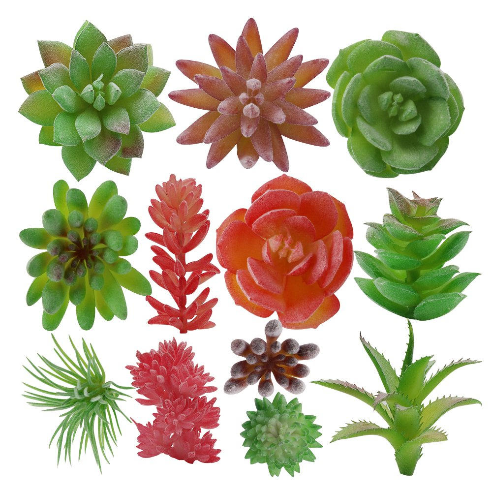 XiaZ Fake Faux Succulent Plants Bulk 12 Pcs, Artificial Succulents Flowers for Home Wall, Garden, Indoor, Office Decoration, Assorted Flocked Red Green Purple Plant with Echeveria, Agave, Aloe