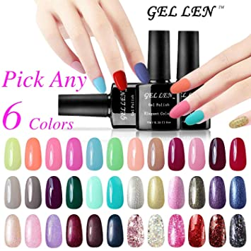 Amazon.com : Gellen Pick Any 6 Colors Soak Off Gel Nail Polish 300 ...