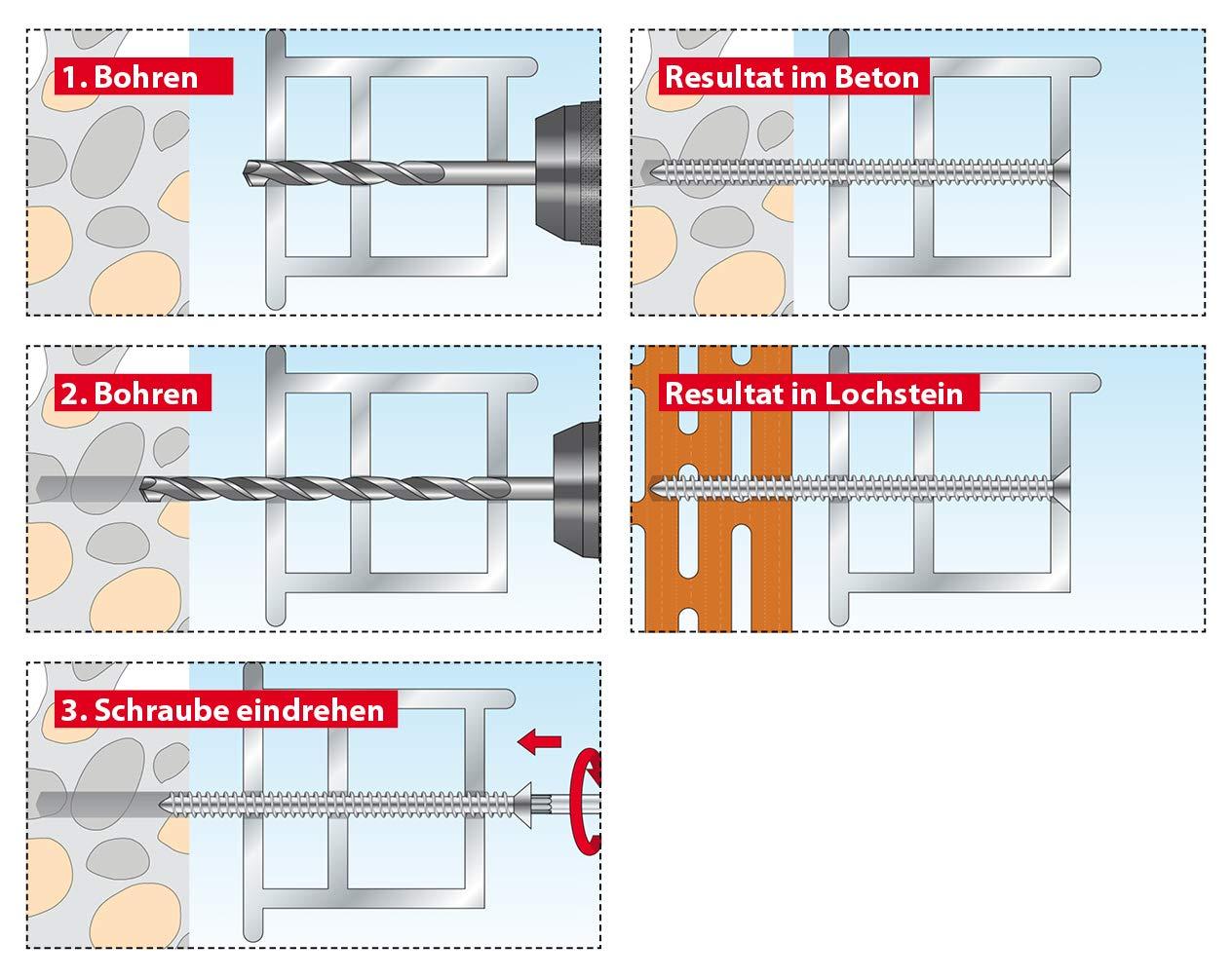 7,5 x 72 mm TOX Fensterrahmenschraube Window Pro verzinkt 100 St/ück 09310144
