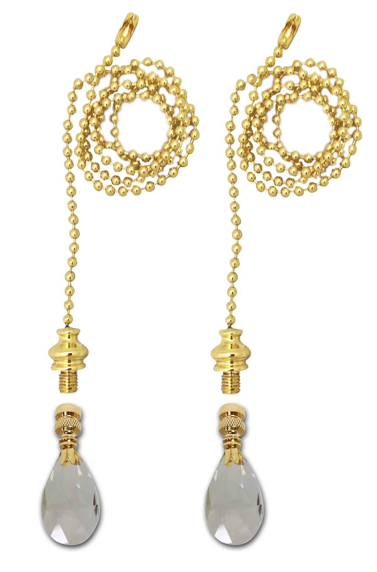 Royal Designs Fan Pull Chain with Radiant Teardrop Clear Crystal Finial - Polished Brass - Set of 2