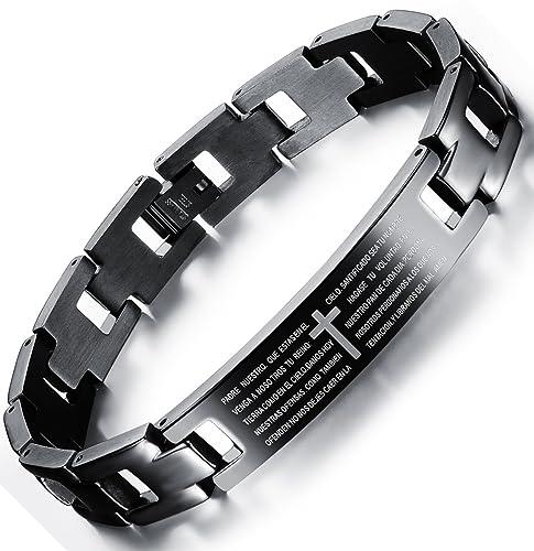 85313fb3afa OSTAN Mens Bracelet Men s Stainless Steel Bracelet Braided Religious Cross Cuff  Bangle Rope Black (Style