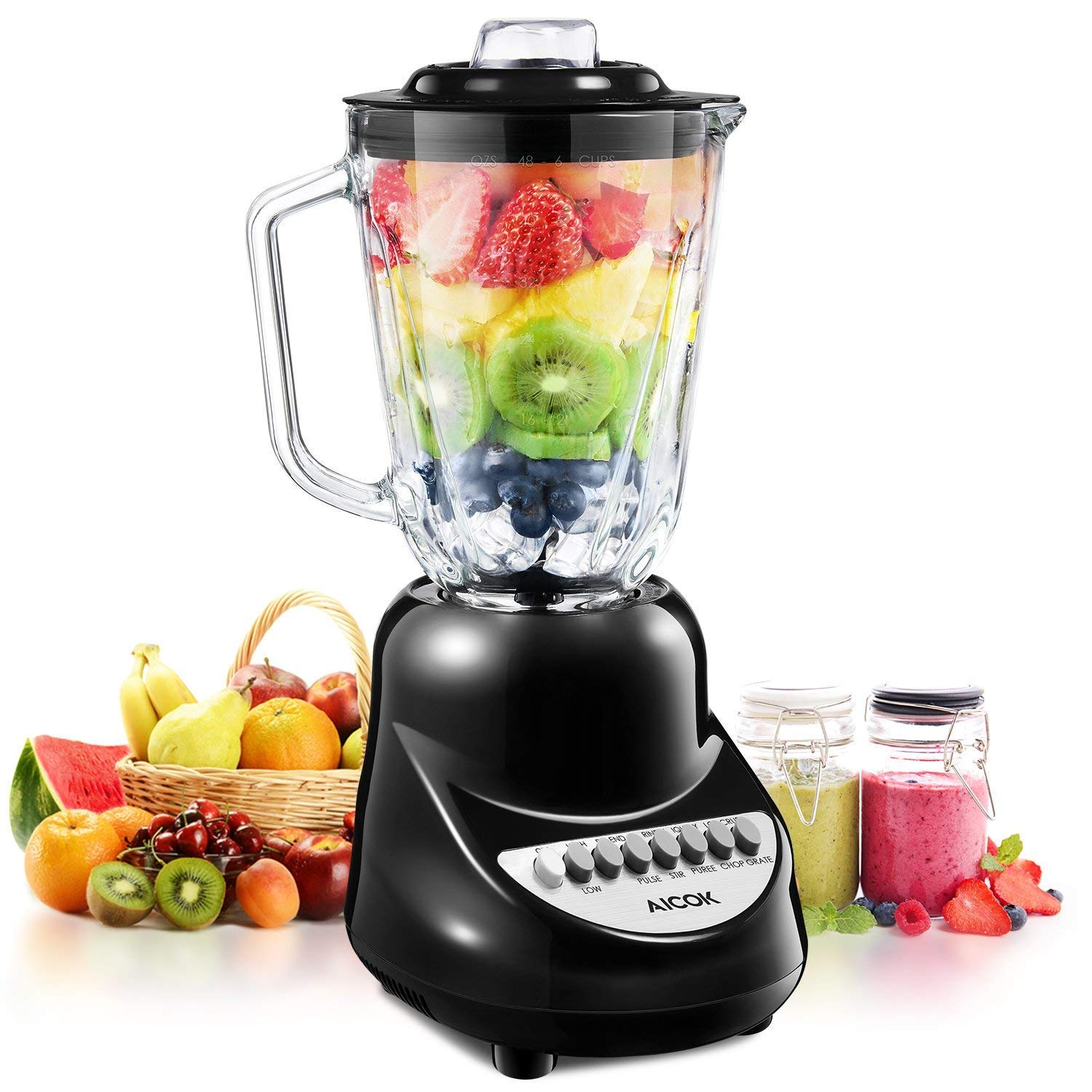 Blender, Aicok Smoothie Blender with 450 Watt Auto-IQ Base for Shakes and Smoothies, 10-Speed Settings Personal Blender with 50oz Glass Jar & 20 oz Travel Sports Bottle, BPA Free, Black