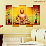 "WallMantra Wooden 5 Pieces Golden Buddha Wall Painting (44"" W x 24"" H, Canvas, Bronze)"