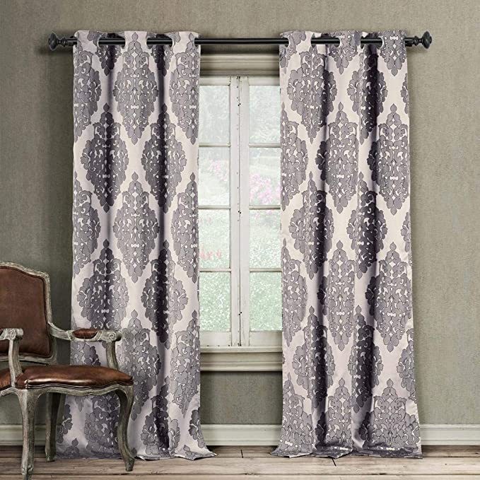 Amazon Com Duck River Textiles Home Fashion Medallion Linen Textured Grommet Top Window Curtains For Living Room Bedroom Assorted Colors Set Of 2 Panels 37 X 84 Inch Plum Home Kitchen