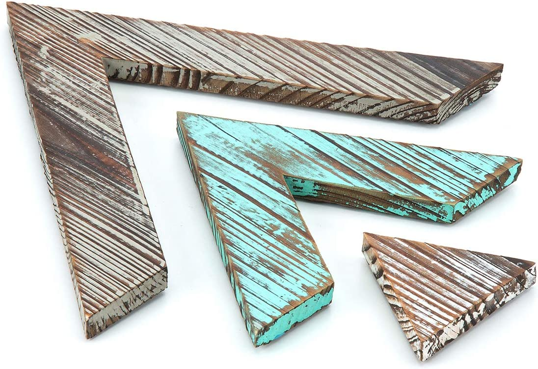 J JACKCUBE DESIGN Rustic Wood Chevron Arrows Farmhouse wall décor Triangle shaped Boho Style Hanging Vintage Art Signs Set of 3 for Home - MK540A