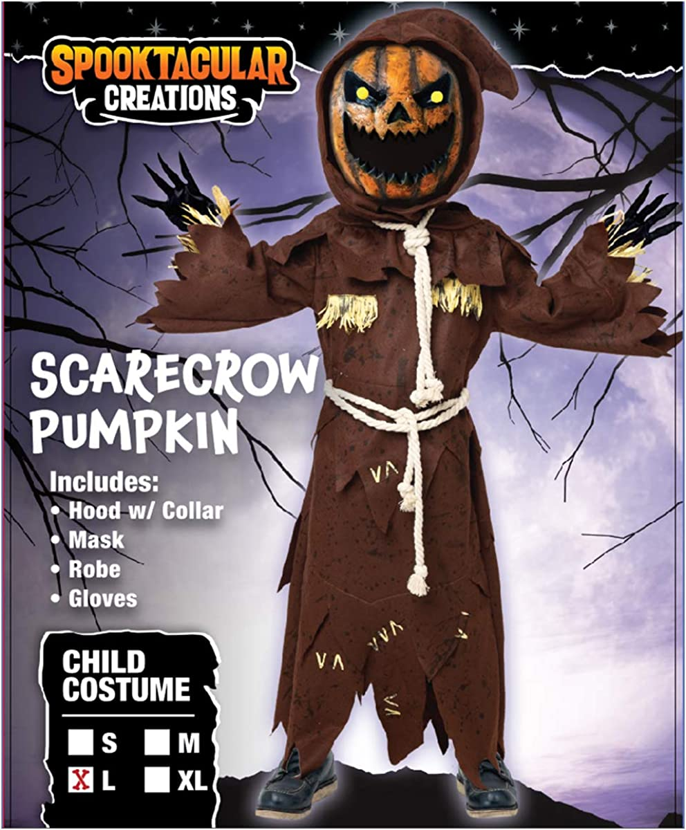 Scary Scarecrow Pumpkin Bobble Head Costume w/Pumpkin Halloween Mask for Kids Role-Playing