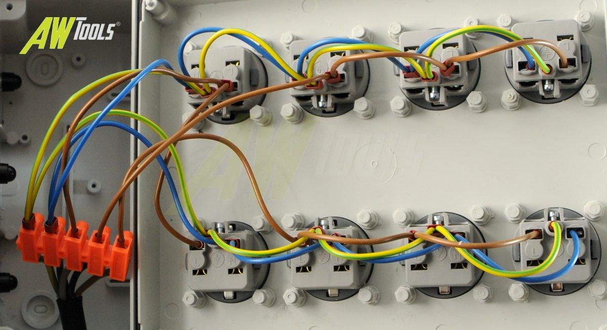 Mobiler Baustromverteiler//Standverteiler 8 x 230V//16A Schuko komplett verdrahtet 1,5m Zuleitung /& Haltegriff