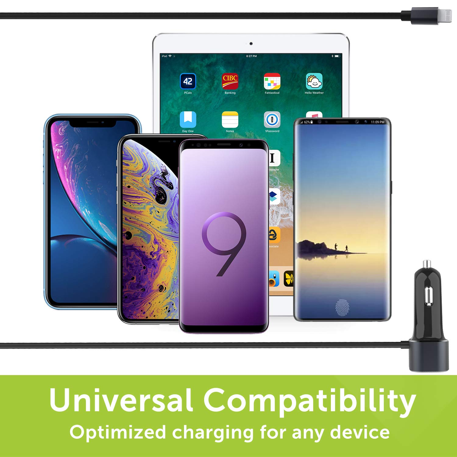 Apple MFI Certified iPhone X//XR//XS//Max//8//7//+,iPad Air 2,Samsung S10//S9//S8 4351487244 Lightning Charging Cable and 18W Quick Charger 3.0 Port Compatible w BrexLink 30W Charger Compact 12w iPhone Car Charger