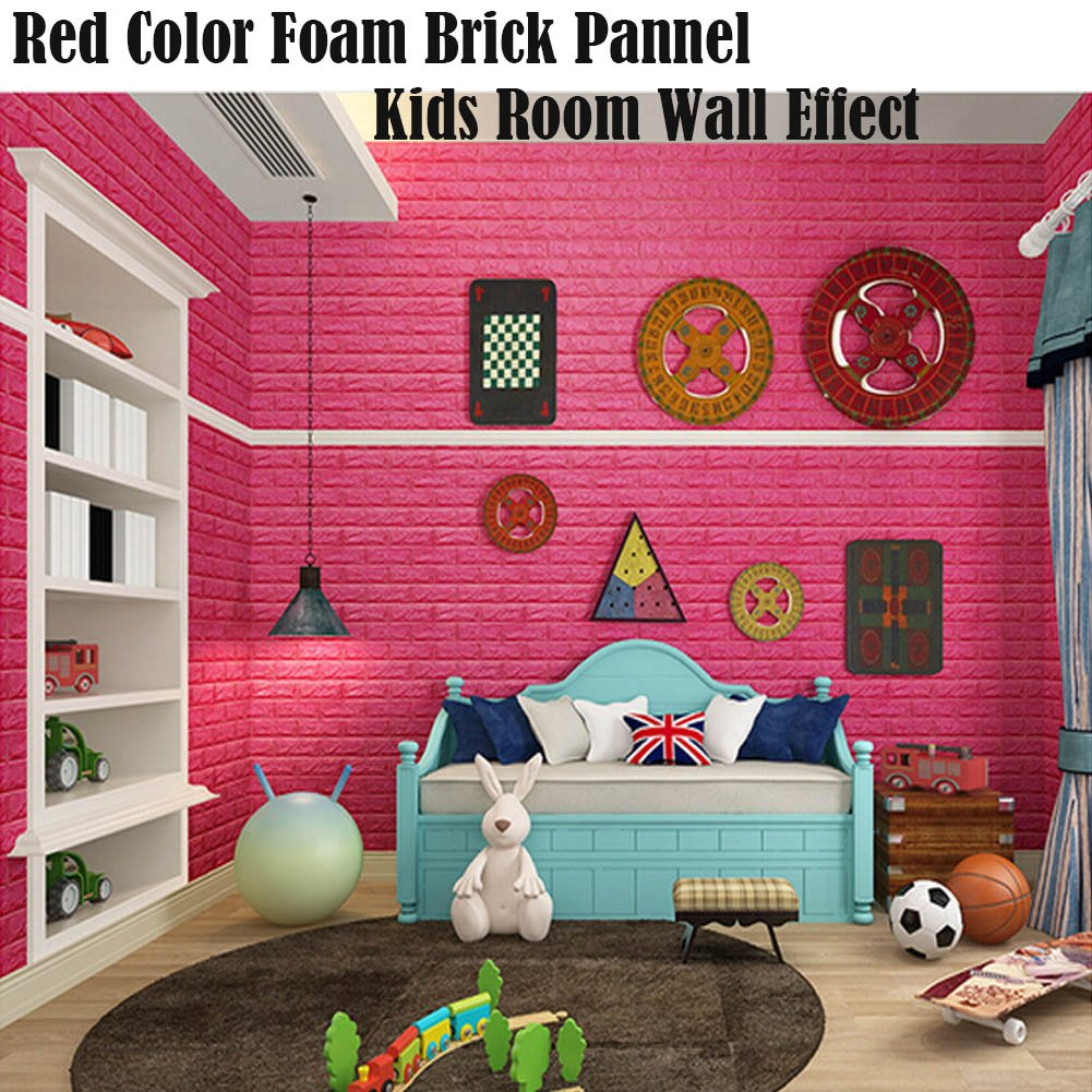 Red Color Foam Wallpaper, 3D Foam Brick Panel Peel And Stick ...