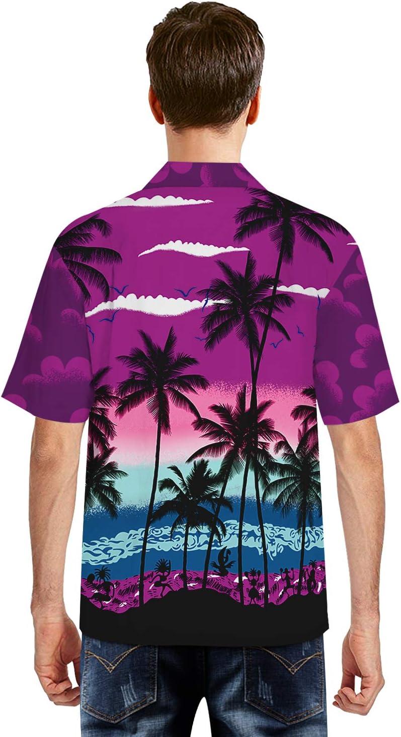 ISAAC ENGLAND Nueva Camisa Morada Botón Casual para Hombre con Estampado Hawaiano Playa de Manga Corta Camisa Hawaiana de Verano de Secado rápido, XL: Amazon.es: Deportes y aire libre