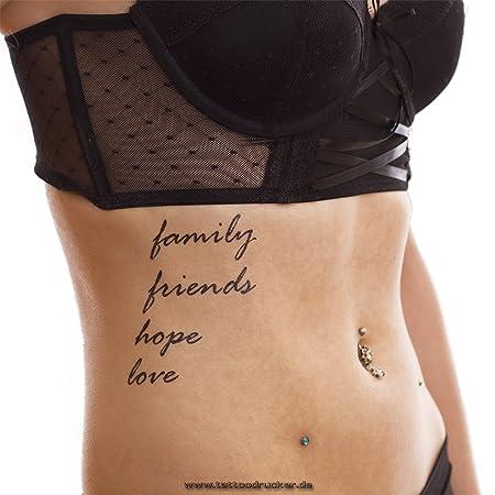 Family Hope Friends Love Tattoo Texto Tarjeta – Tempo rary Piel ...