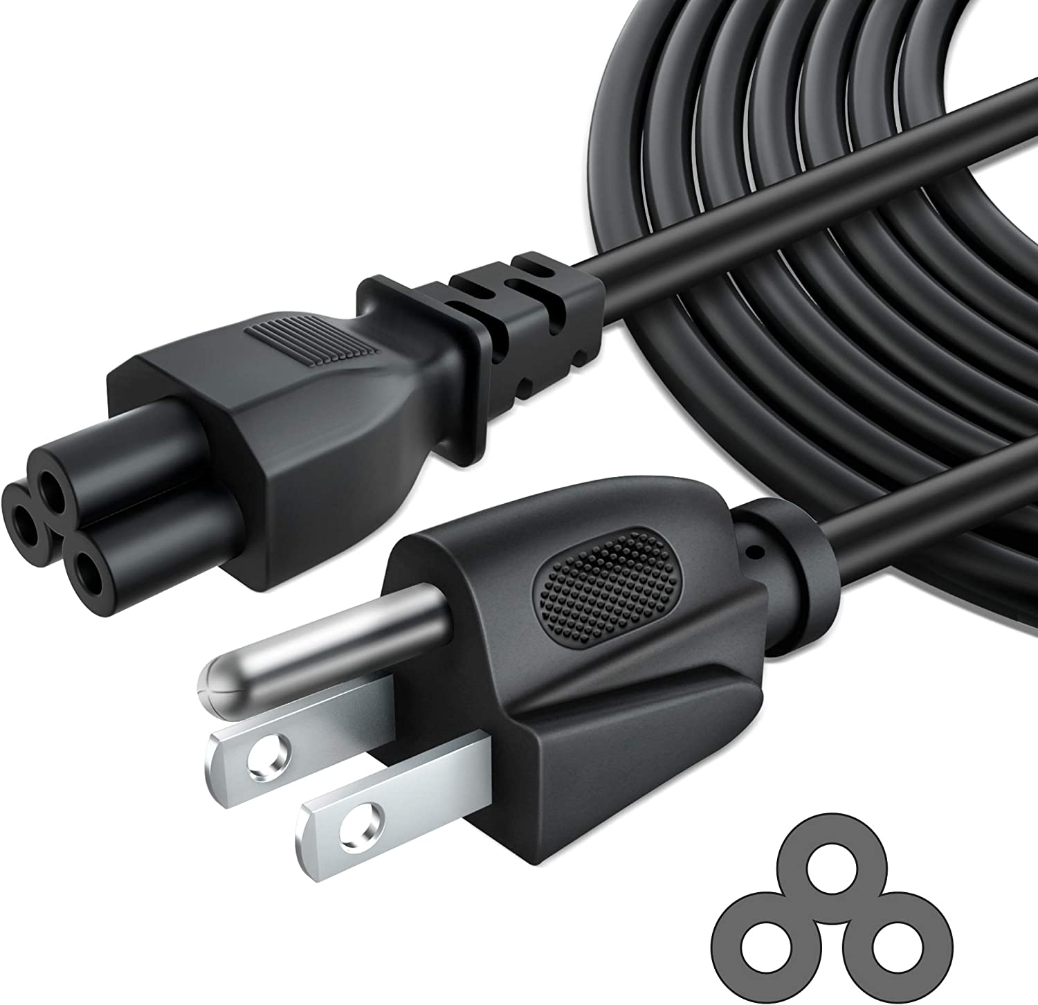 PKPOWER 6ft 3 Prong AC Laptop Power Cord Cable for Dell IBM Hp Compaq Asus Sony Toshiba Lenovo Acer Gateway MSI Notebook Laptop Computer Charger-Black