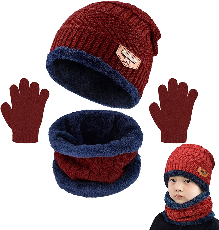 CheChury Beanie Bambino Cappello Inverno Berretto in Maglia Spessa Bambino Sciarpa Invernale Cappelli Sciarpa Cappello Guanti Invernali Ragazzi Ragazze