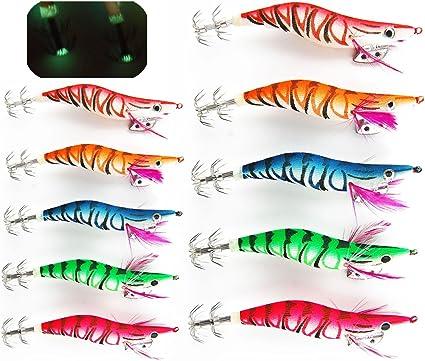 2.5# New Glow in the Dark Luminous Fishing Lures Bait Squid Shrimp Hook New