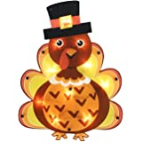 "Northlight 16"" Lighted Thanksgiving Turkey with Pilgrim Hat Window Silhouette Decoration"