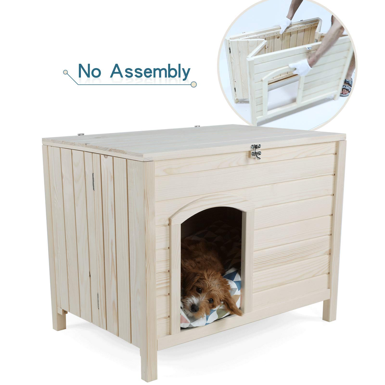 Petsfit No Assembly Portable Wooden Dog House, 1-Year Warranty
