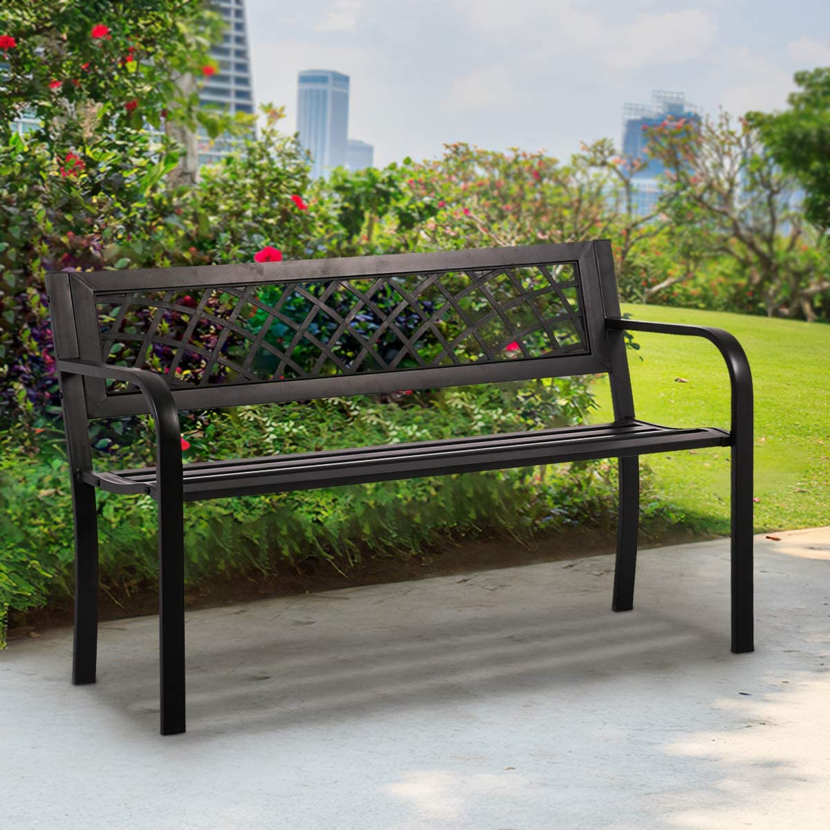 Park Outdoor Bench for Outside Clearance Garden Bench Metal Patio Bench with Armrests Sturdy Steel Frame Furniture Mesh Pattern,400LBS Weight Capacity, for Front Porch, Backyard, Lawn, Garden, Pool