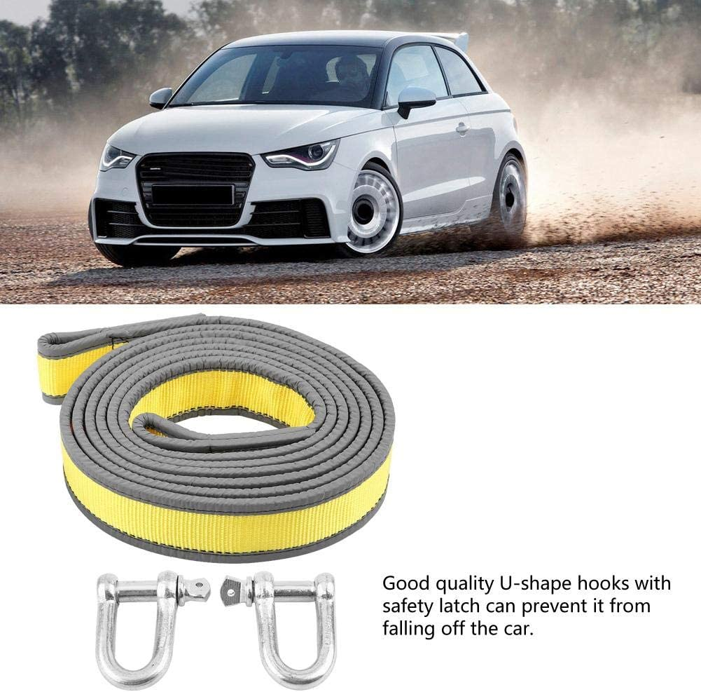 Suuonee Towing Cable,Car Trailer Towing Rope Recovery Tow Strap 8 Tons 4 Meters with U-shape Hooks Light Reflection