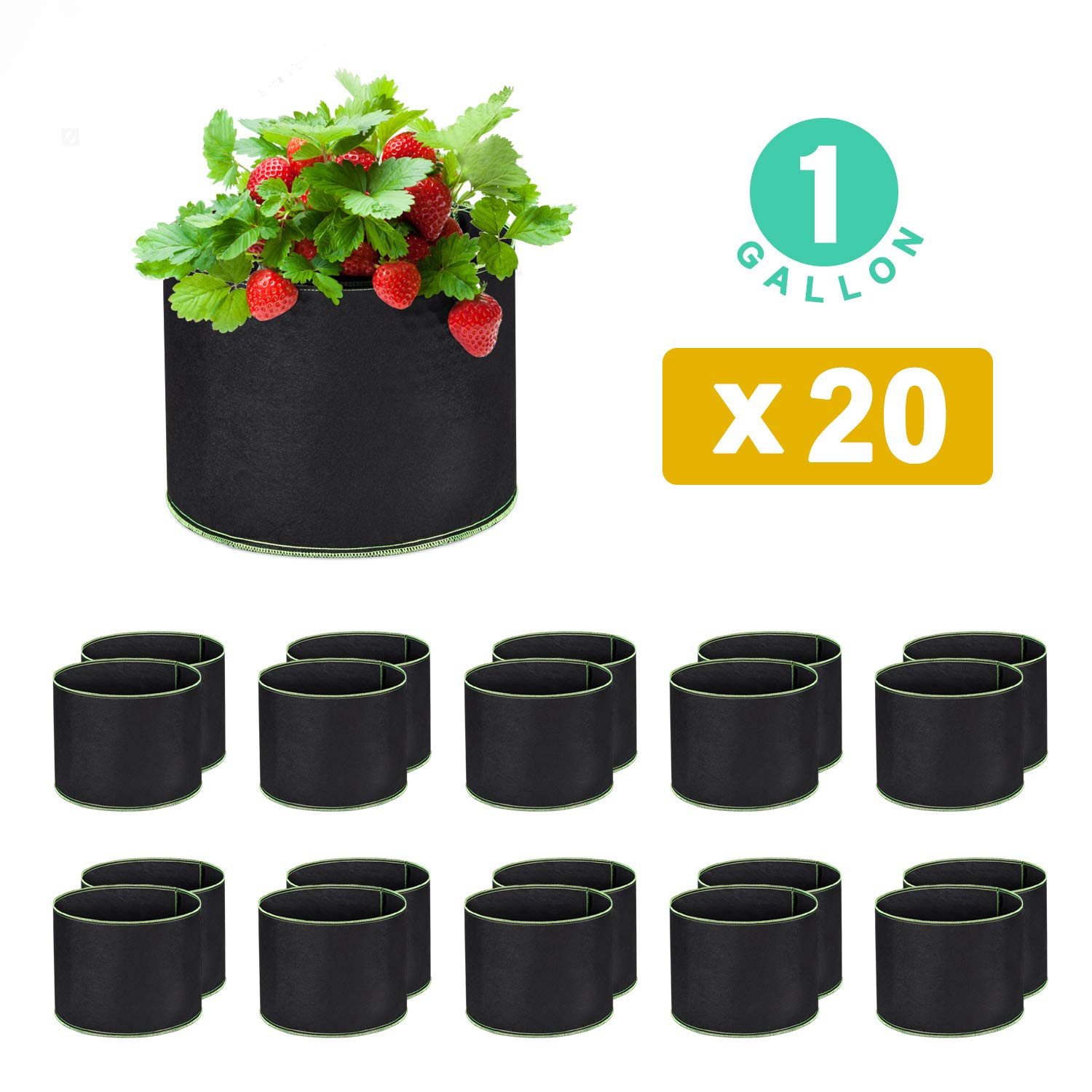WOHOUS 20-Pack 1 Gallon Plant Grow Bags Heavy Duty Aeration Fabric Pots Thickened Nonwoven 1 Gallon Fabric Pots Plant Grow Bags 20, 1 Gallon
