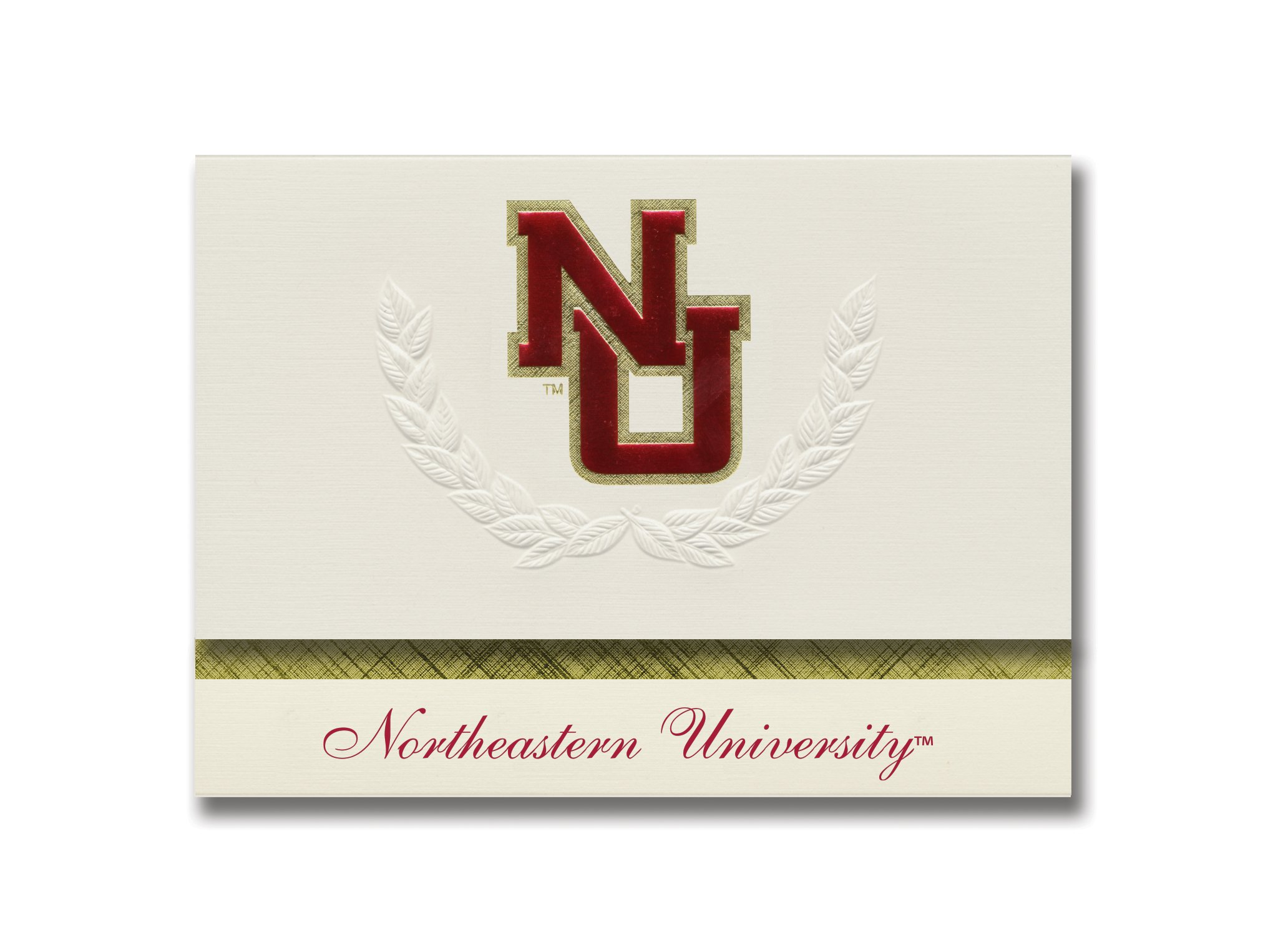 Signature Announcements Northeastern University Graduation Announcements, Platinum style, Elite Pack 20 with Northeastern U. Seal Foil