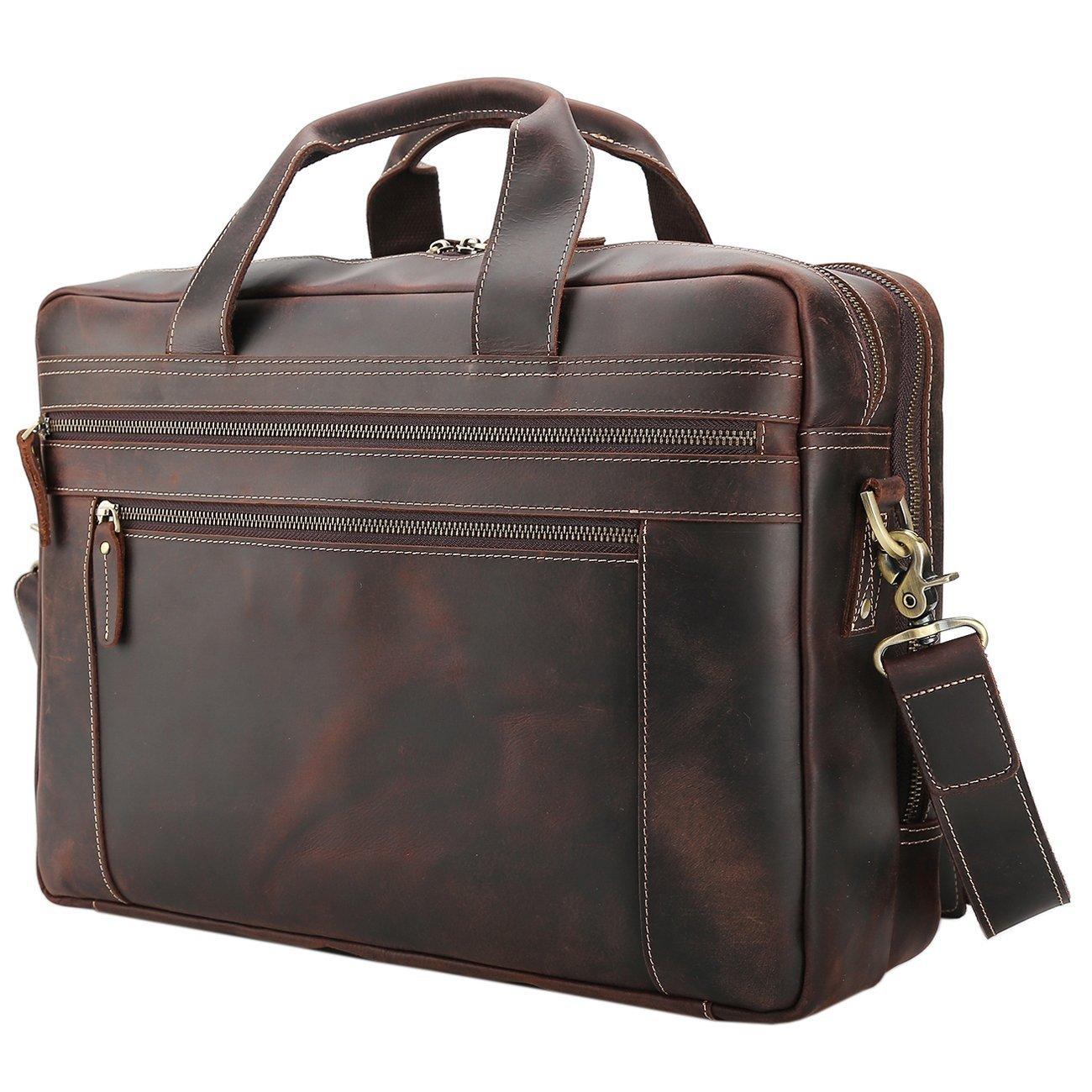 Polare Men's Full Grain Leather 17'' Briefcase Laptop Business Bag