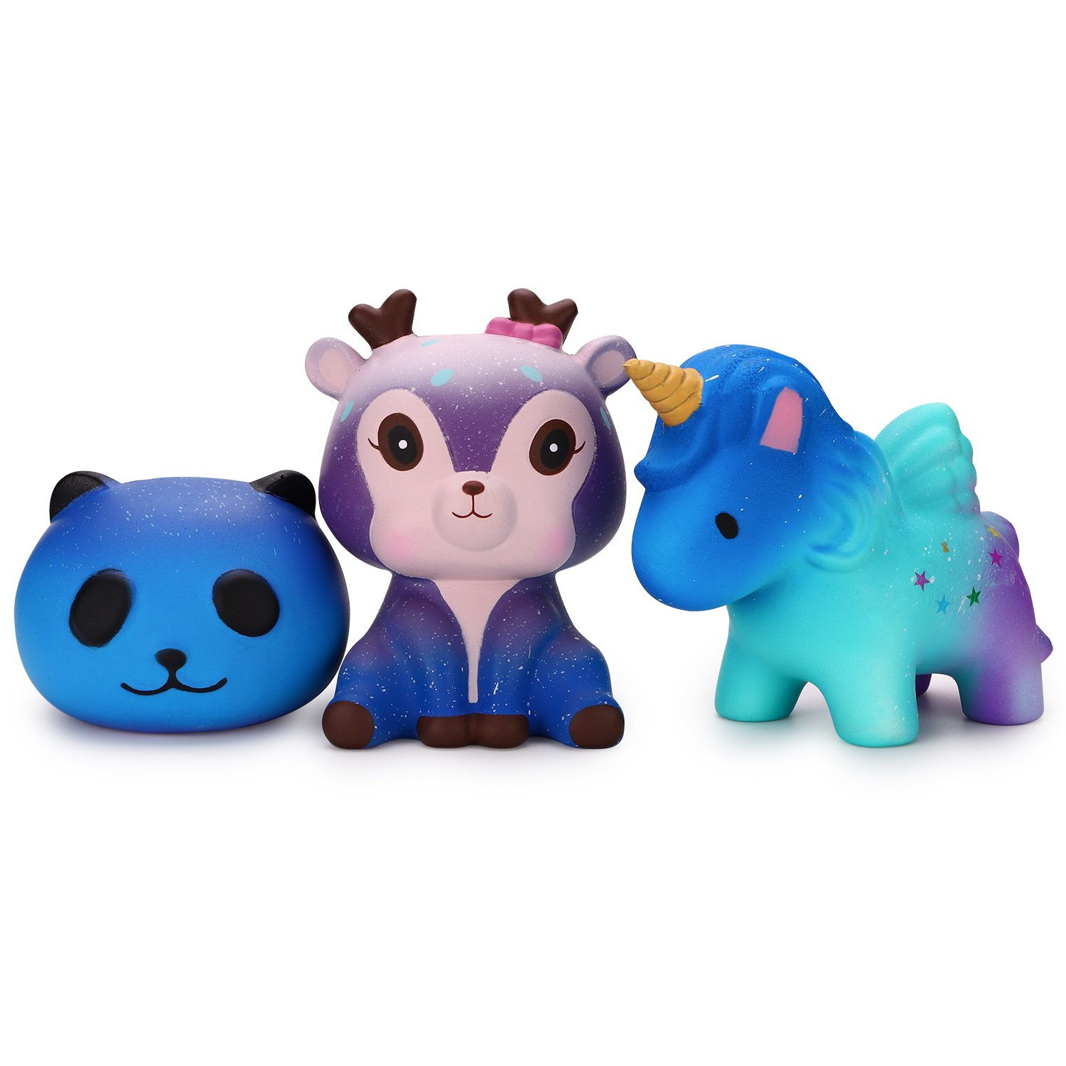 WATINC 3 PCs Animal Sweet Scented Squishy Cute Starry Unicorn Deer Panda Slow Rising Squishy Kid Toy, Lovely Toy,Stress Relief Toy,Decorations Toy Gift Starry Unicorn Set