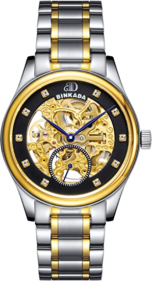 binkada para hombre automático mecánico tourbillon esfera de color negro reloj para hombre # 7001 a01