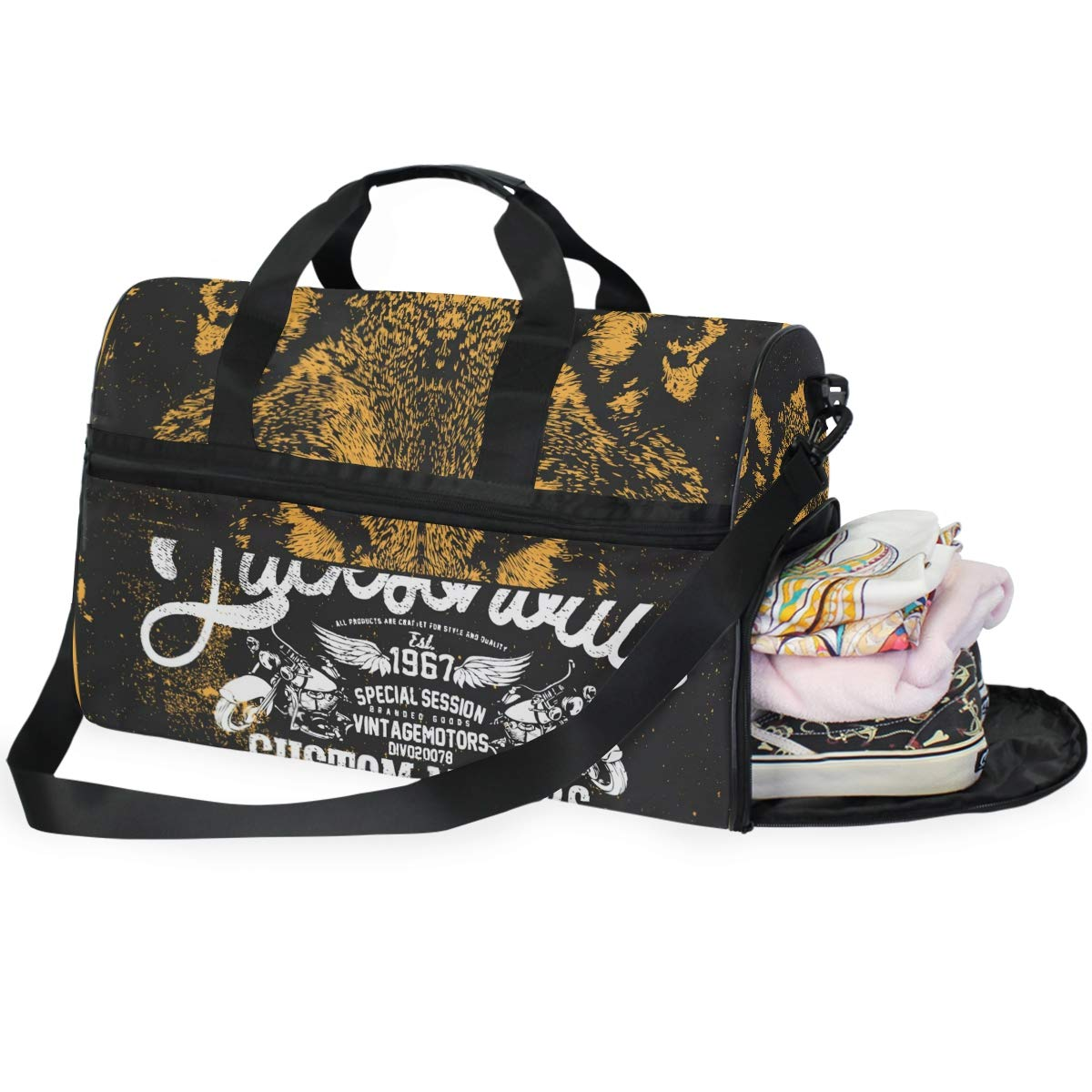 Travel Duffel Bag Vintage Wolf Waterproof Lightweight Luggage bag for Sports Gym Vacation