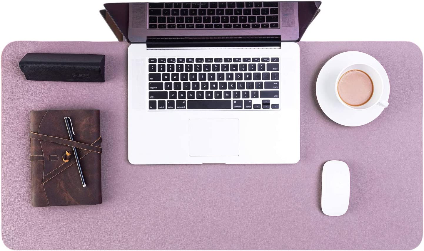 Bedsure Genuine Leather Desk Pad, Office Desk Mat Blotter on top of desks, Large Computer Desk Mat, Waterproof Lavender Mouse Desk Pad Protector for Office and Home (Purple, 15.7x31.5 inches)