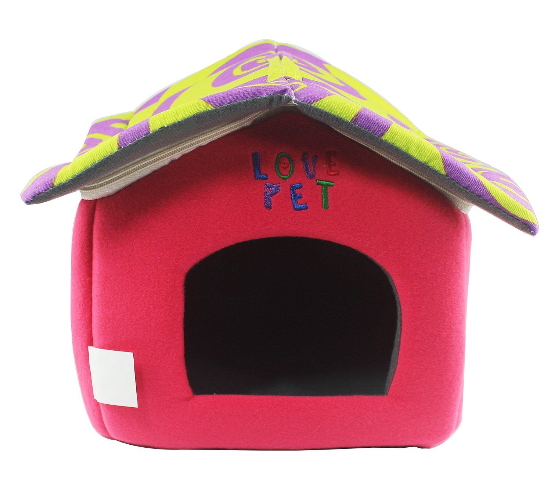 LOVE PET - Caseta de Tela Plegable/ Cuna Perro/ Habitación Portátil/ Nido Mascota para Perros, Gatos con forma de casa (motivo espirales verde+rojo, ...