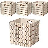 Posprica Storage Bins, Storage Cubes,11×11 Fabric Drawers Organizer Basket Boxes Containers (4pcs, Cream)