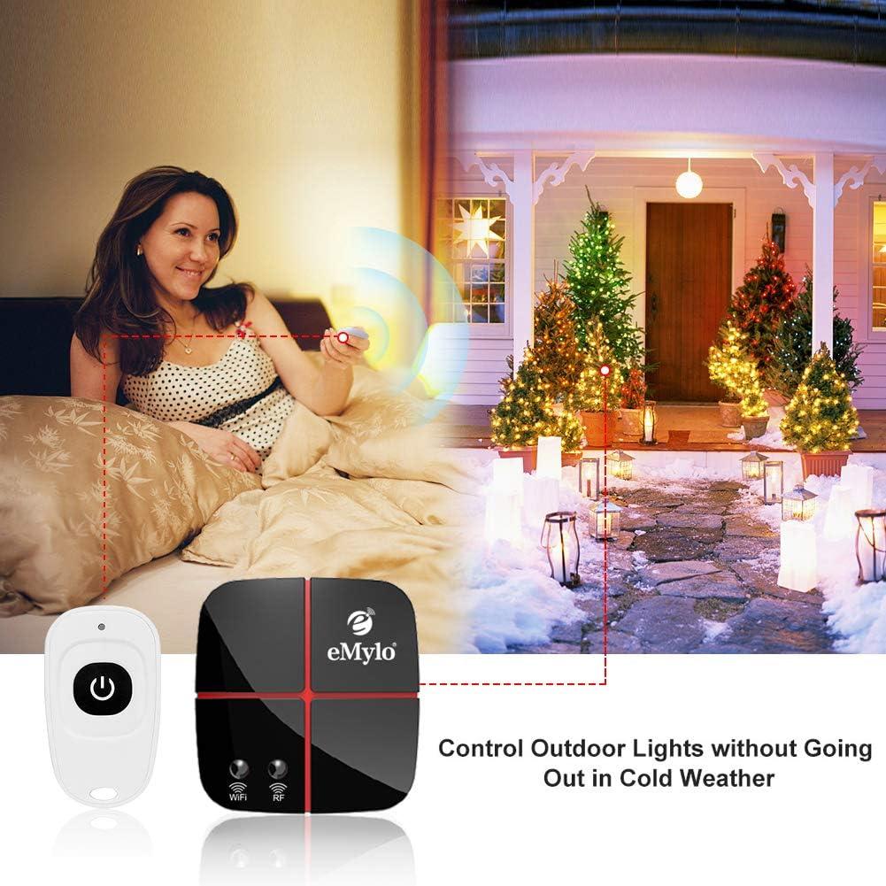 eMylo Smart WiFi Interruttori di luce Telecomando Wireless RF Rel/è 100-240V 1canali Timer per Compatibile con  Alexa Google Home App per IOS//Android