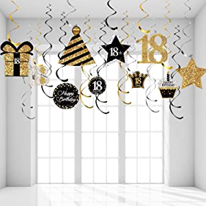 18th Birthday Party Decorations, 18th Birthday Party Hanging Swirls Ceiling Decorations Shiny Celebration 18 Hanging Swirls Decorations for 18 Years Old Party Supplies, 30 Count
