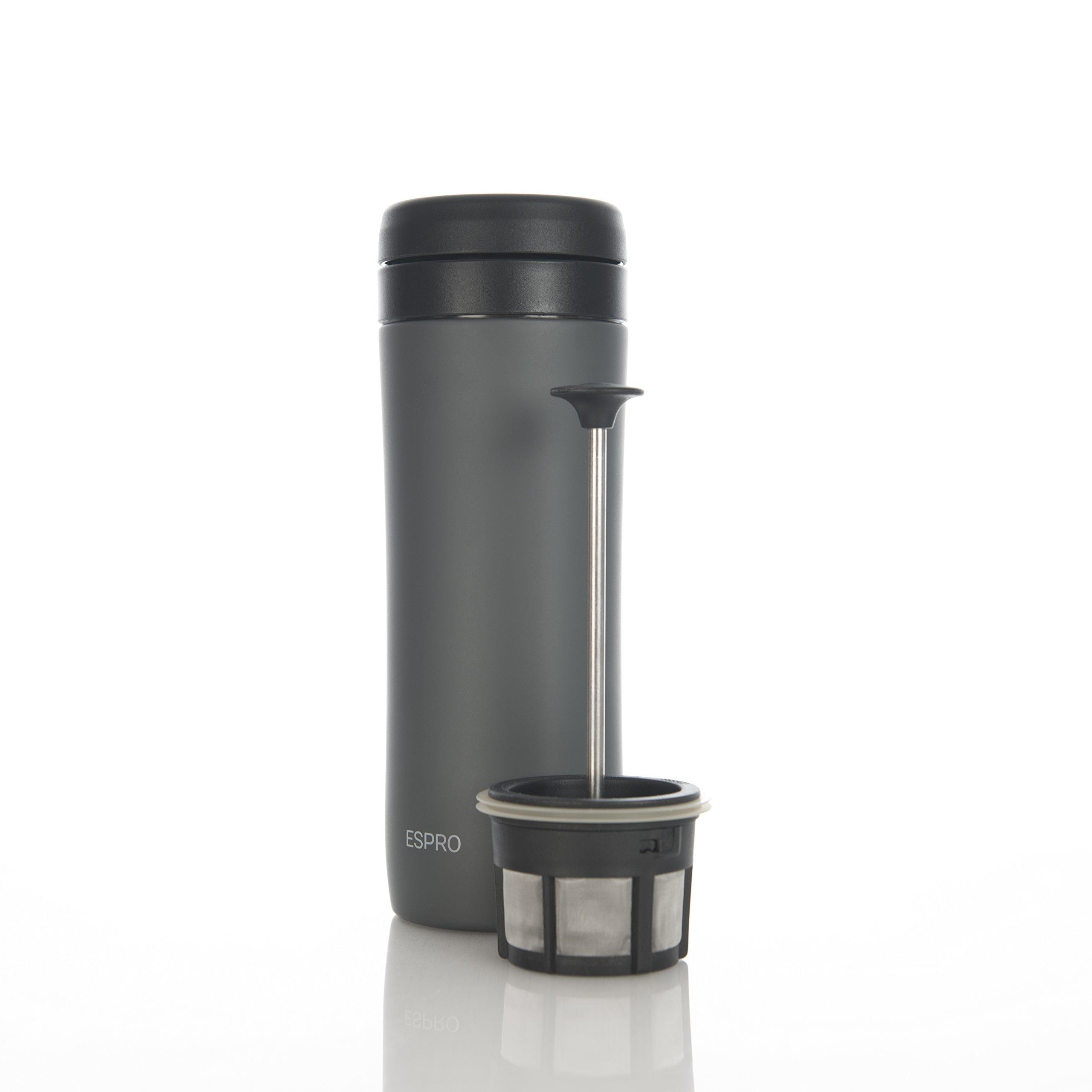 Espro Travel Coffee Press, Stainless Steel, 12 oz (Gunmental Grey)