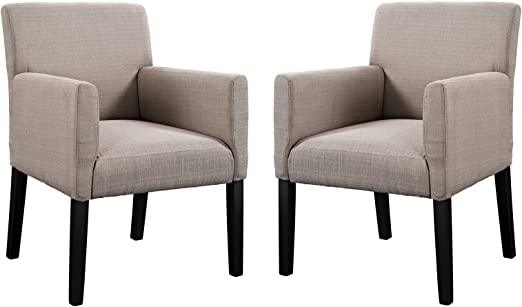 Modern Formal Living Room, Amazon Com Modway Chloe Upholstered Fabric Modern Farmhouse Dining Arm Accent Chair In Beige Set Of 2 Chairs