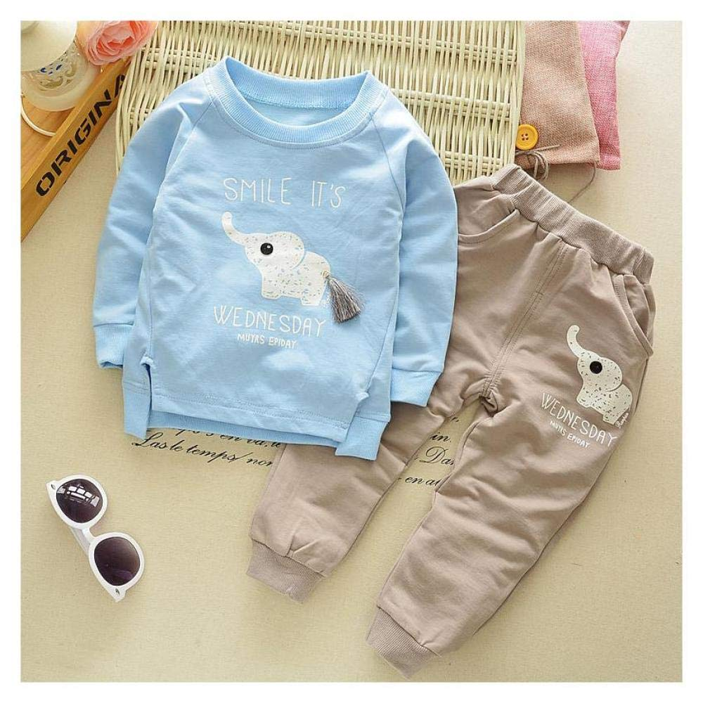 2Pcs Baby Boys Girls Casual Cotton T-shirt Long Pant Toddler Clothes Set Outfits