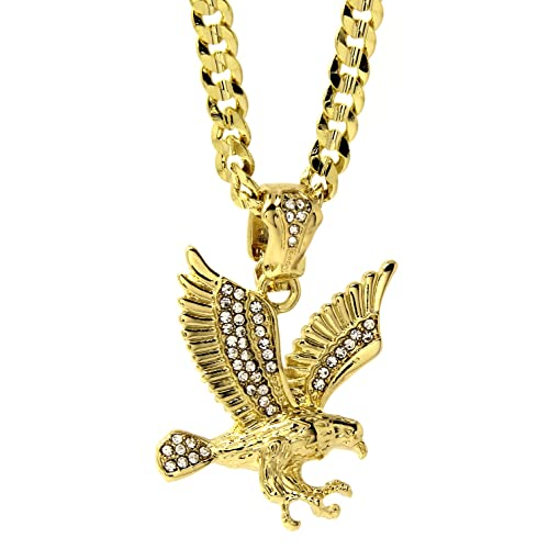 cc64de779ce Mens 14k Gold Plated Iced Cz Hip-Hop Claw Eagle Pendant 30