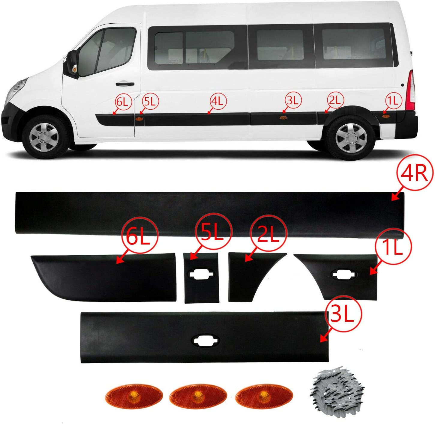Side Moulding Strip Front Panel Right Hand Side or Left Hand Side 768560130R 768570130R by TK Car Parts