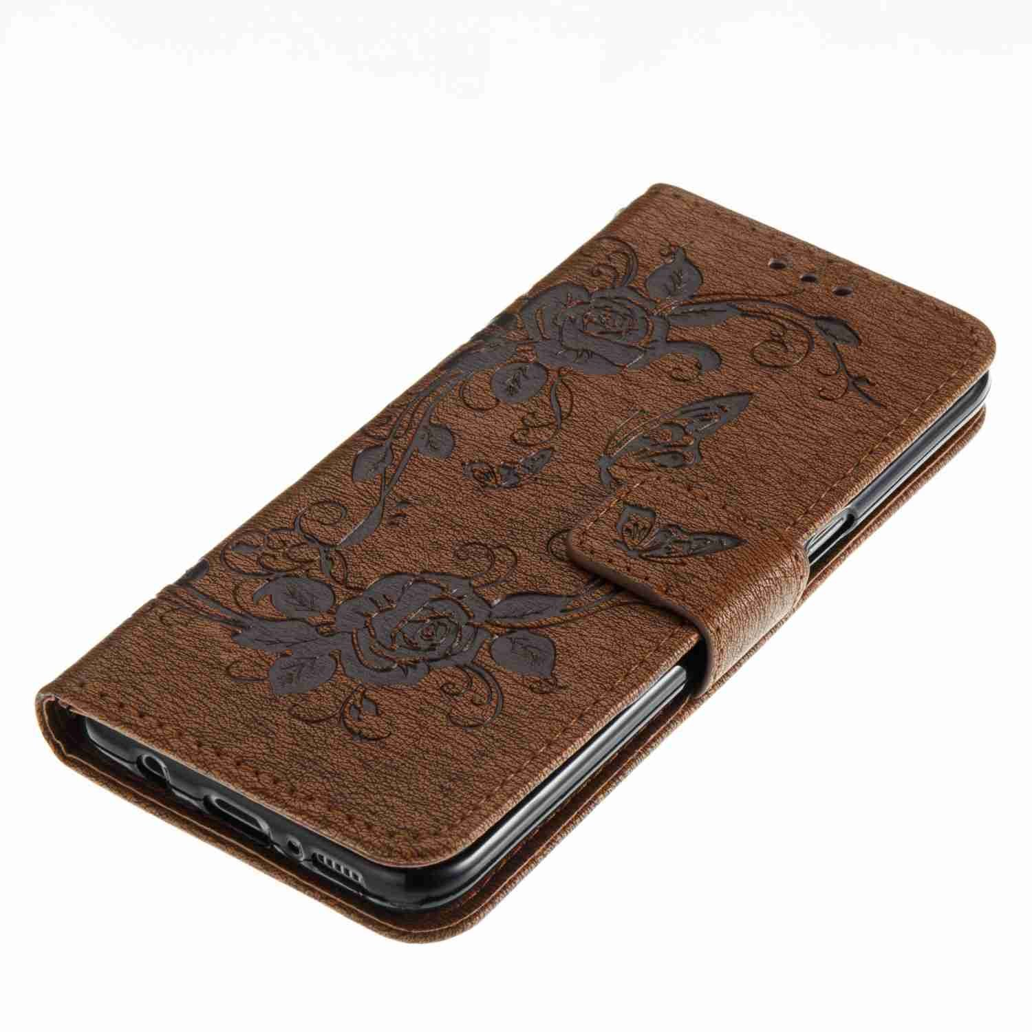 Brown Butterfly Flower Design Strap Case for Samsung Galaxy S8,Flip Wallet Leather Cover for Samsung Galaxy S8,Herzzer Premium Pretty Elegant 1 x Free Black Cellphone Kickstand + PU Leather Fold Stand Card Holders Smart Case Cover for Samsung Galaxy S8
